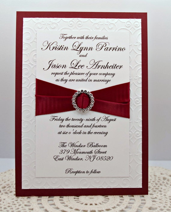 Elegantly Embossed Wedding Invitation in Burgandy/Red and White