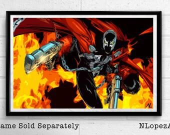 Spawn Comic Book Illustration, Film, Movie, Pop Art, Superhero Poster, Comic Book Print Canvas