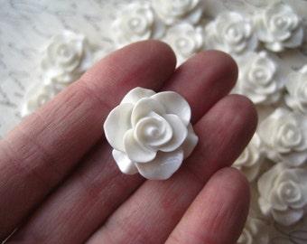 Resin Rose Flower, 6 to 12 pcs 20mm White Resin Flower Cabochon, Perfect for Bobby Pins, Rings, Earrings