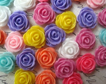 Resin Cabochon / Cabochon Flower Rose / 10 pc Mixed Lot 13mm Resin Cabochon Rose Flowers.. Perfect for Rings, Bobby Pins and more