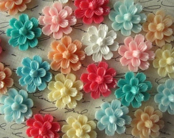 Resin Cabochon Flowers, 6 pcs 20mm Mixed Lot Resin Flower Cabochon, Perfect for Bobby Pins, Rings, Earrings