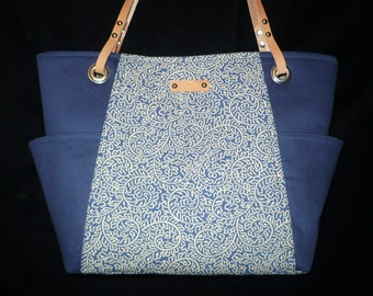 Navy Blue Bag - Purse - Nautical - Handbag - Shoulder Bag - Leather Handles - Handmade handbag - canvas purses
