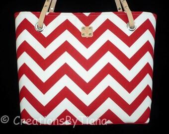 Chevron Purses - Red Chevron - Purse - bag - Handmade - Handbag - Leather handles