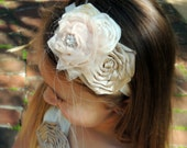 Beige and Champagne headband, Vintage inspired