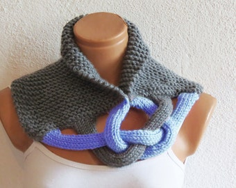 Braided Cowl, Scarflette, Neckwarmer, Gray Soft Blue Infinity Scarf Knitted Chunky Scarf, Woman Accessory, Gift For Her, Knit Chain Cowl
