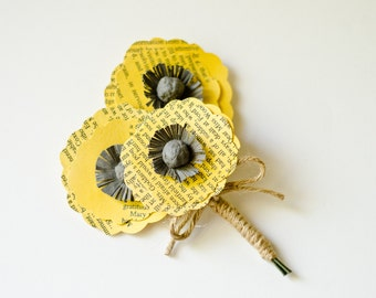 Poppy Boutonniere for Groom, Groomsmen, Ushers, Fathers and Grandfathers - Jane Austen Book Page Flowers - Customized to Your Colors