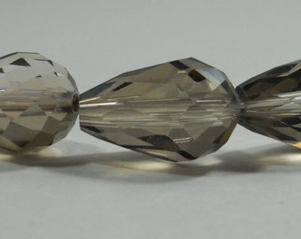 Smokey Quartz Crystal Quartz Glass Faceted Teardrop Beads 15mm
