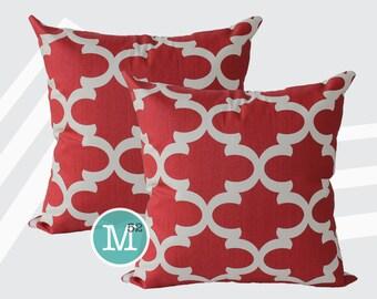 Timberwolf Red Moroccan Quatrefoil Lattice Pillow Covers Shams - 18 x 18, 20 x 20 and More Sizes - Zipper Closure- dc1820