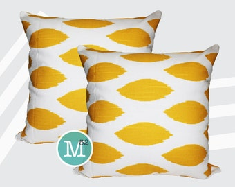 Yellow Ikat Chipper Pillow Covers Shams - 18 x 18, 20 x 20 and More Sizes - Zipper Closure- dc1820