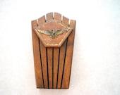 Vintage Well Made Oak Kitchen Knife Rack Holder w/ Brass American Eagle Decoration,