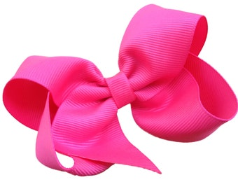 4 inch passion fruit pink hair bow - neon pink bow, toddler bow, boutique bows, girls hair bows, girls bows, pink hair bows, toddler bows