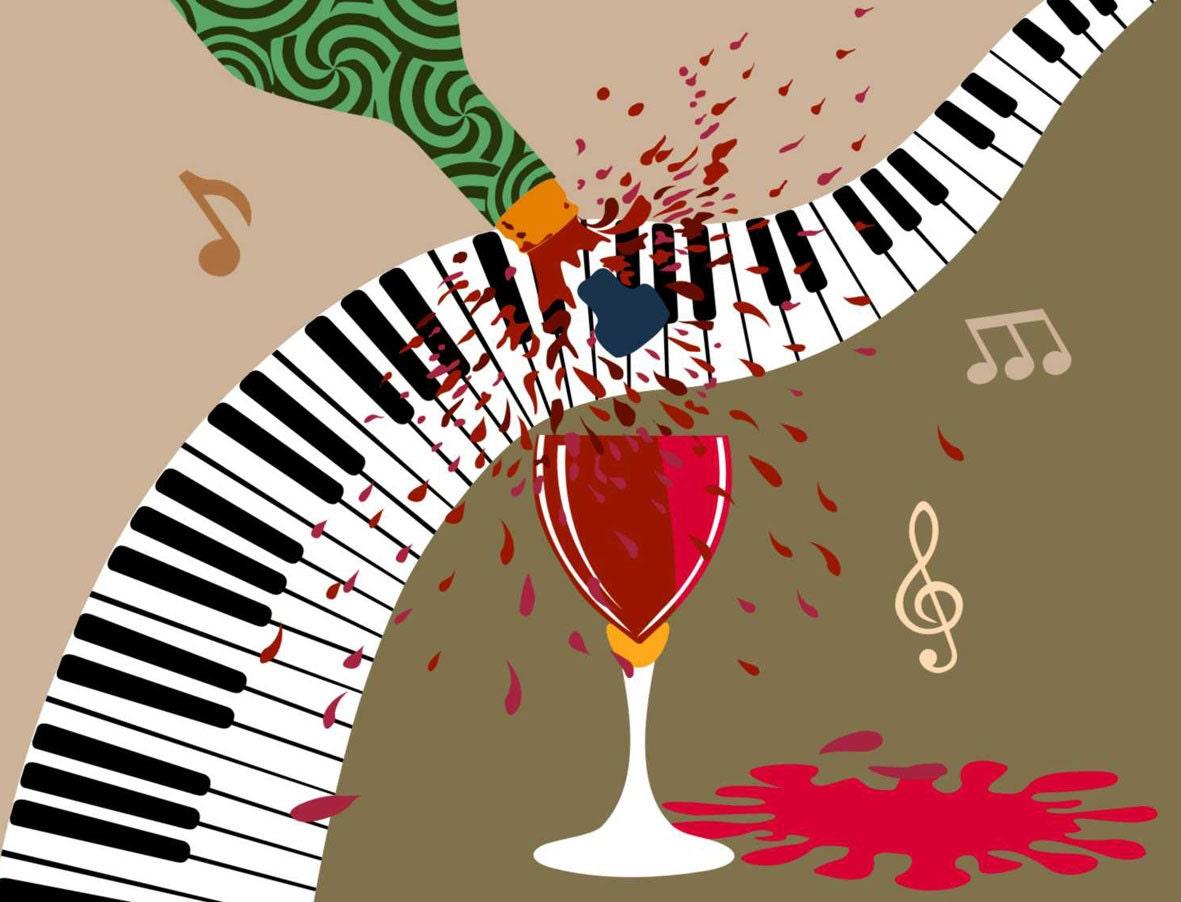 Art Décor: Music Art Decor. Wine Glass Art Decor Wine Painting By