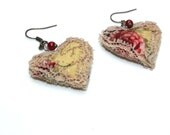 Vintage Paris Fabric Heart Lace Earrings - Bellecardsandgifts