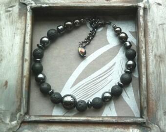 Sale Now 10.50 Euros, Black Bead Bracelet, Lava Bracelet, Lava and Hematite, Hematite Bracelet, Black Jewellery, Mens Bracelet, Lava Beads