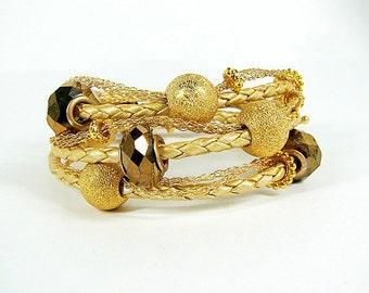 Chunky wrap bracelet Braided leather wrap around bracelet Big bold gold bronze bead leather cuff bracelet Urban chic office jewelry