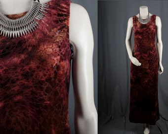 Red Dress Maxi Velvet rust tones long sleeveless bohemian Gypsy Hippie Rocker women size S small