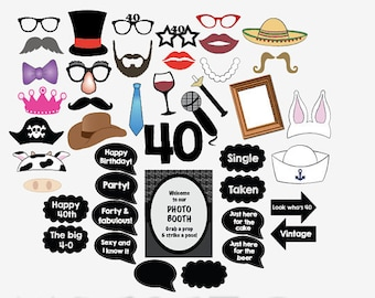 40th birthday photo booth props PRINTABLE fourtieth party photobooth 40 fourty