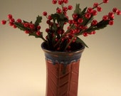 Holiday red  - small red and blue  fluted  and carved vase