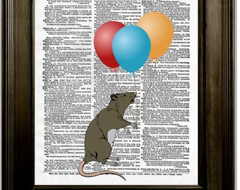 Rat Holding Balloons Art Print 8 x 10 Dictionary Page - Whimsical Pop Art - Pet Rat Lovers