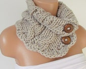 Stone Hand Knitted Cowl Scarf With Wooden Buttons-Neckwarmer Winter Accessories,Fall Fashion.Holiday Accossories,Chunky Scarf