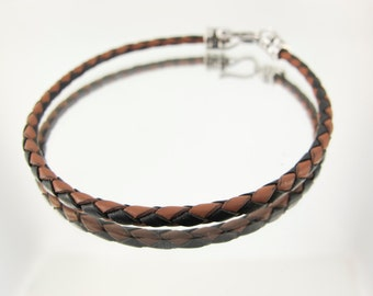 Bolo Braided Leather Bracelet Two Tone Brown and Black #682