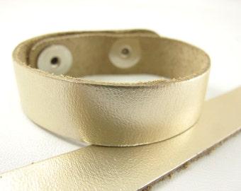 "Metallic Platinum Leather Cuff Bracelet 5/8"" Wide, #50-85831002"