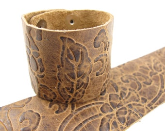 "Narcissus Cognac Leather Cuff Bracelet 2"" Wide, #57-85251203"