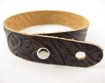 "Brown Black Tooled Leather Stud Bracelet 5/8"" Wide"
