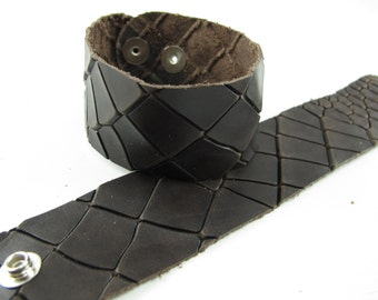 "Brown Dragon Leather Cuff Bracelet  1-5/8"" Wide #-"