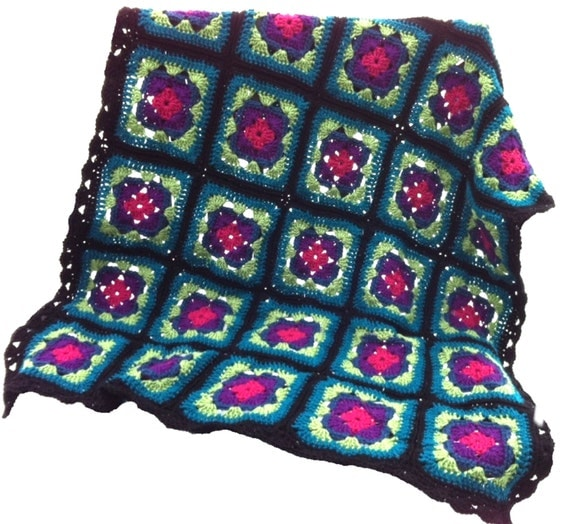 Crochet afghan crochet blanket handmade blanket art deco granny square afghan, magenta violet blue green teal black, READY TO SHIP