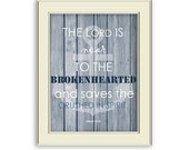 Brokenhearted Verse Art Printable- Bible Verse about Grief art printable, Nautical Theme, Blue and White, Home Decor
