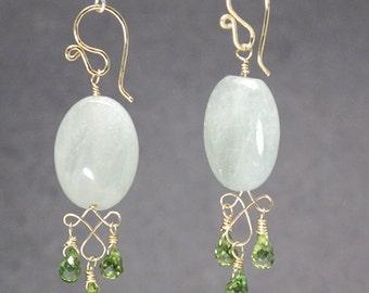 Aquamarine with peridot on filigree earrings Victorian 319
