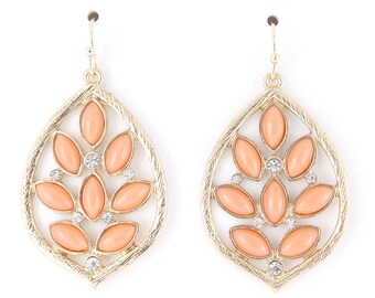 Pretty Gold-tone Pink Stone Leaf Dangle Earrings,H5