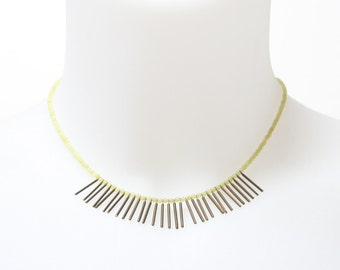 The Eta Necklace Minimalist Tribal Pale Yellow Butter Jade Pale Blue Amazonite or Coral Tiny Beads Vintage Brass Bar