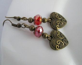 Clearance Sale - Birthday Gifts for Her, Heart Earrings, Heart Jewellery, Heart Charm, Bronze Earrings,  Bronze Jewelry, Earrings Dangle