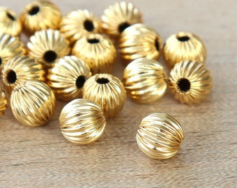 Gold Plated Beads, 6mm Corrugated Round - 25 pcs - eCRR01G-6