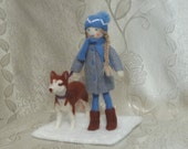 OOAK Sculptural Composition - Needle Felted - Girl With Husky Dog