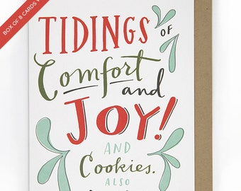 Funny Holiday Card: Comfort and Joy and Cookies & Bourbon Box Set 8 Cards
