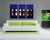 3 Panels,  bridge night lights refpection Canvas oil printing. NO Frame, just print
