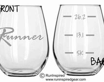 Running Runner Glass Set of 2 FUNNY Choose from Pilsner, Beer Mug, Wine Glass, Stemless Wine Glass, Pub, Rocks or Coffee Mug
