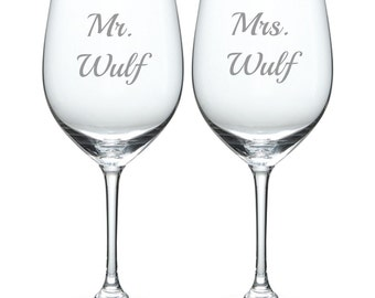 Etched Wedding Glass Set of 2 Mrs. and Mr. FREE Personalization