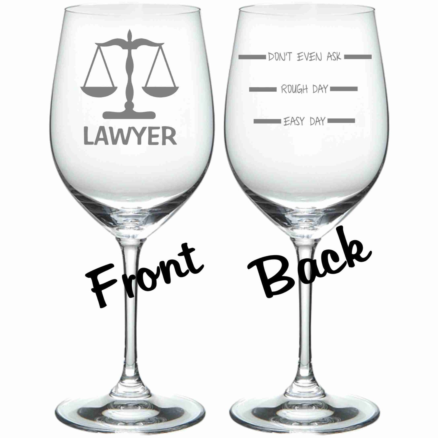 Etched Lawyer Wine Glass Funny Chose From Stemless Wine