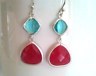 Spring red and blue Wedding Earrings,Drop, Dangle, Glass Earrings, bridesmaid gifts,Christmas Earrings,christmas gift