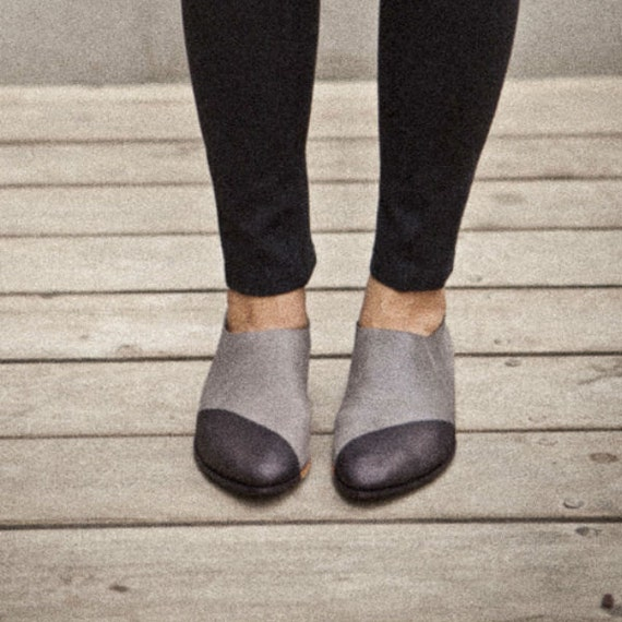 Two tone shoes-Grey flat pointy shoes colored by ...
