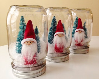 Scandi Santa Boy Mason Jar Christmas Decoration