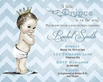 Blue Chevron Little Prince Boy Baby Shower Invitation and FREE Thank You Card Printable DIY