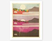 CAMPFIRE, Giclee Fine Art Print, Minimal, Retro Wall Art for your home decor