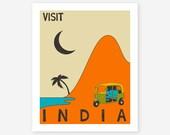 INDIA Travel Poster, Pop Artwork, Giclee Fine Art Print, Home Decor, Wall Art