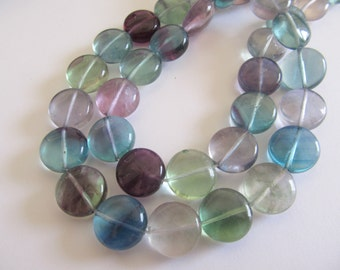 "8"" AA Rainbow Fluorite Smooth Coin Beads, Approx 15mm"