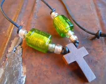 Necklace simple wood cross with lampwork glass beads on leather cord boho rustic minimalist